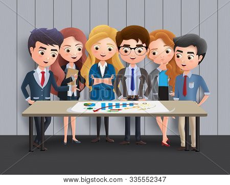 Business Characters Meeting Vector Concept. Business Character Office Employee Team In Meeting For M