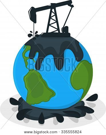 Earth Oil Pollution Concept Icon And Label. Earth Pollution By Petroleum. Catastrophe Symbol, Icon A