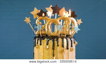 Happy New Year 2020 Black And Gold Drip Cake.