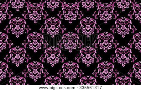 Abstract Seamless Floral Pattern With Leaf Flower On Black Background.