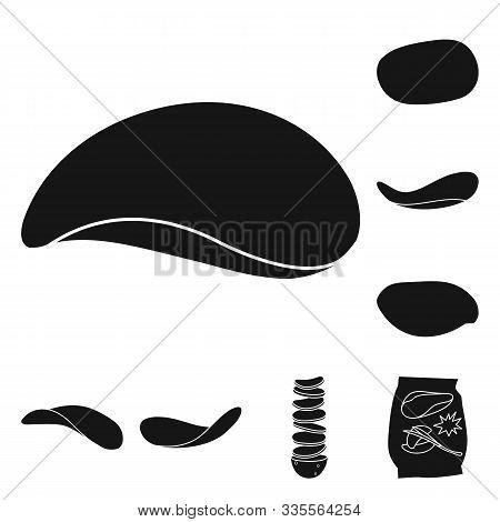 Chips Of Potato Vector Black Icon Set.vector Isolated Illustration Crispy Chips.icon Set Of Roast Sn