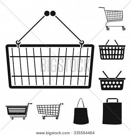 Pushcart For Supermarket Vector Black Icon Set.vector Isolated Cart For Shop Illustration.icon Set O