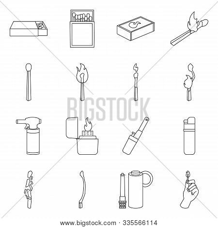 Burning Matchstick And Matchbox Vector Line Icon. Set Icon Of Lighter Electronic And Igniter With Fl