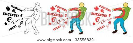 Businessman Attracting Luck With A Large Magnet. Idea And Business Concept. Successful Business. Guy