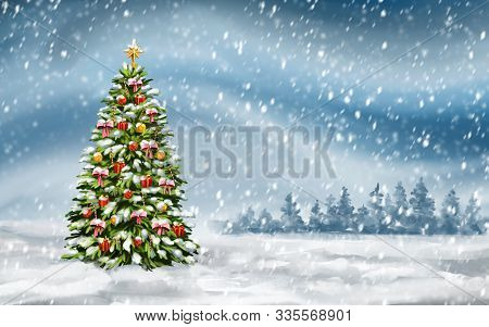 Christmas Tree On Winter Background, Decorative Christmas Wallpaper, Art Illustration Painted With W