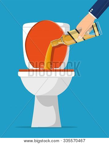 Alcohol Abuse Concept. Hand Pours Whiskey In Toilet. Bottle Of Bourbon. Stop Alcoholism. Rejection.