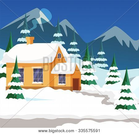 Village House Exterior Flat Illustration. Mountain Lodging And Pines Covered In Snow. Winter Landsca