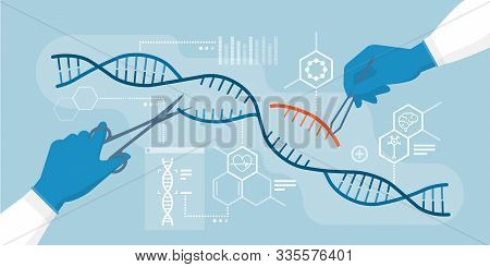 Scientists Analyzing Dna Helix And Editing Genome Within Organisms, Crispr Technology