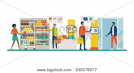 People Doing Grocery Shopping At The Supermarket And Buying Products, They Are Checking Offers Using