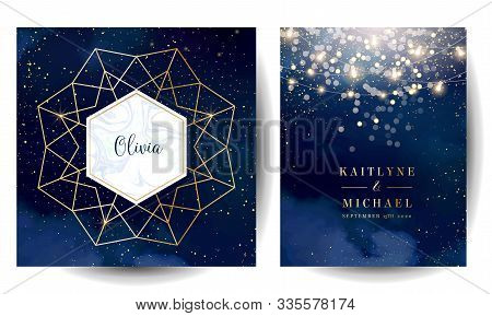 Magic Night Dark Blue Cards With Sparkling Glitter Bokeh And Line Art. Diamond Shaped Vector Wedding