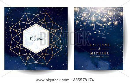 Magic Night Dark Blue Cards With Sparkling Glitter Bokeh And Line Art. Diamond Shaped Vector Wedding