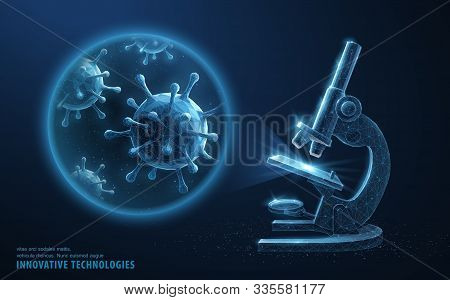 Virus. Abstract 3d Microbe In Microscope Zoom Lens. Allergy Bacteria, Medical Healthcare, Microbiolo