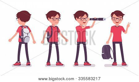 School Boy In Casual Wear Standing. Cute Small Guy In Glasses With A Rucksack, Active Young Kid, Sma