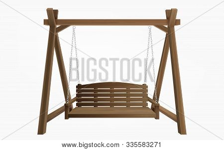 Wooden Porch Swing Hanging On Frame With Chains Isolated On White Background. Vector Swing Bench Fur