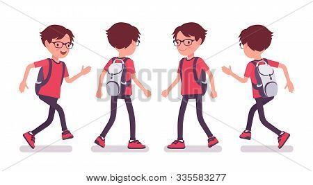 School Boy In Casual Wear Walking And Running. Cute Small Guy In Glasses With Rucksack, Active Young