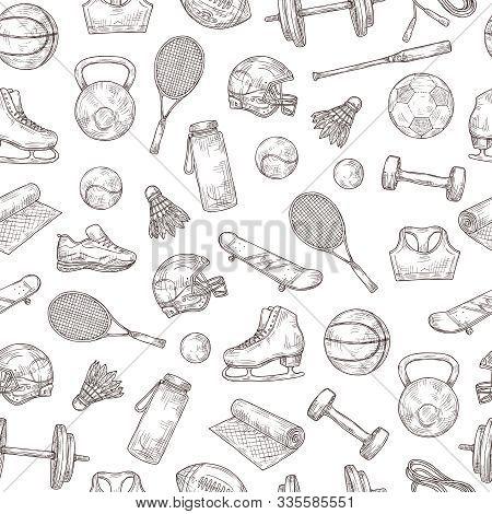 Sports Equipment Seamless Pattern. Basketball And Baseball Ball, Shuttlecock And Football Helmet, Te