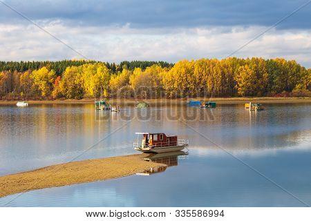 Houseboats On The Liptovska Mara Dam In The Morning Light At Autumn, The Area Of Liptov In Slovakia,