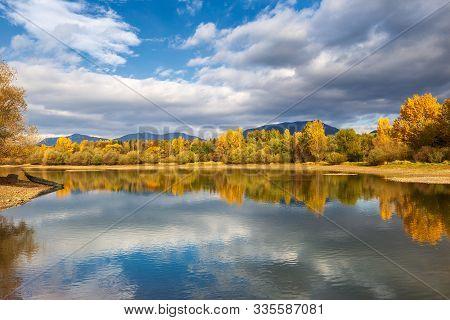 Trees In Autumn Colors At The Shore Of The Liptovska Mara Dam, The Area Of Liptov In Slovakia, Europ