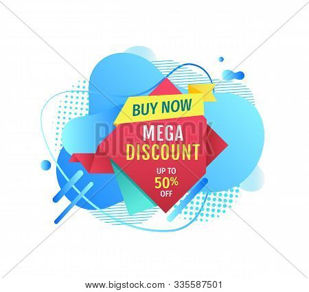 Mega Discount Vector, Buy Now Isolated Banner With Triangle Shape, Geometric Form Promotion Of Produ