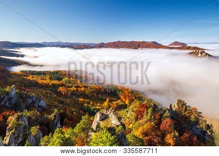 Brightly Colored Forests Of Mountain Valley In The Morning Mist At Autumn. Morning Inversion In The