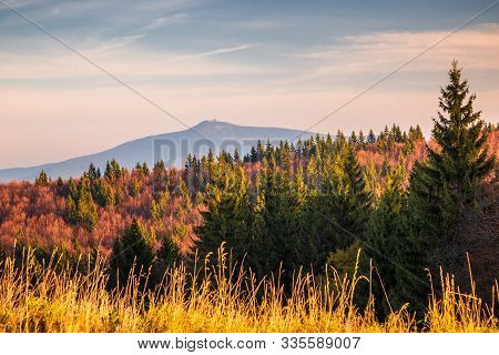 View On The Lysa Hora Hill, Highest Mountain Of The Moravian-silesian Beskids Range In The Czech Rep