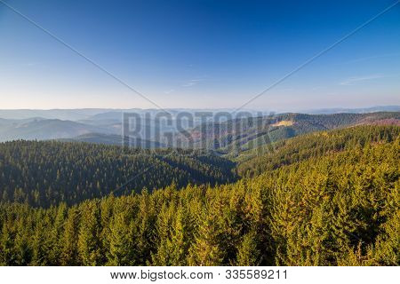 Mountainous Countryside In Northwest Bohemia, View Of Beskydy Mountains, Czech Republic, Europe.