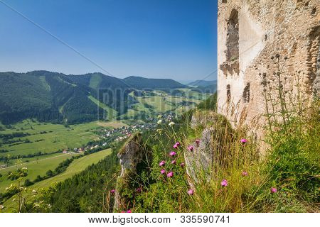 Wall Of The Ruins Of A Medieval Castle Lietava Above The Surrounding Landscape, Nearby Zilina Town,