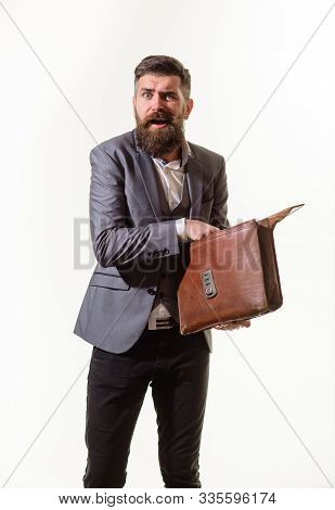 Elegant Businessman In Suit With Briefcase. Fashionable Man Dressed In Formal Suit With Briefcase. B