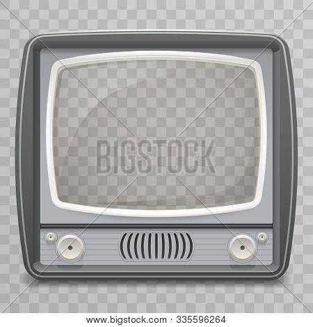 Retro Vintage Old Tv Placeholder Frame Icon Realistic 3d Design Transparent Grid Background Template