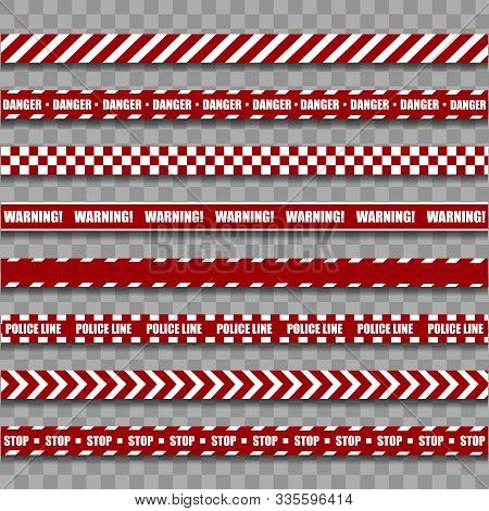 Police Warning Line. Red And White Barricade Construction Tape On Transparent Background. Vector Ill