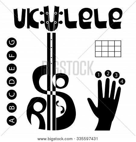 Ukulele Chords Logo Set. Hand, Finger Numbers, Table And Letters For Chords. Lettering
