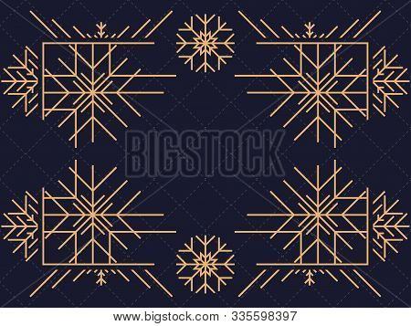 Art deco frame with snowflakes. Vintage linear border.Style of the 1920s and 1930s. Vector illustration poster
