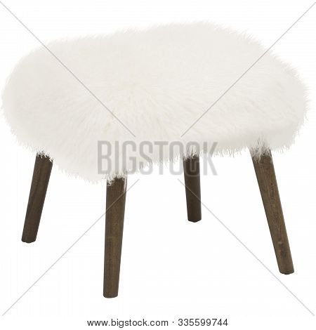 Handmade Stool. Hand Painted Wooden Chair Legs Gray In Brown Dots. Round Seat Covered With White, Wo