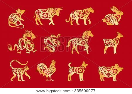 Gold On Red Chinese Horoscope. Vector Chinese Animals Zodiac, China Calandar Signs Set, Astrological