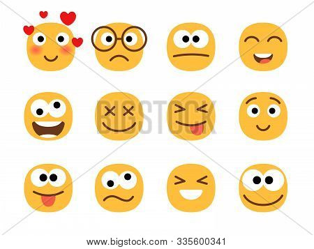 Fun Smile Emoticons Faces. Flat Happy And Enamored, Wonder And Laughing, Confused And Shocked Funny