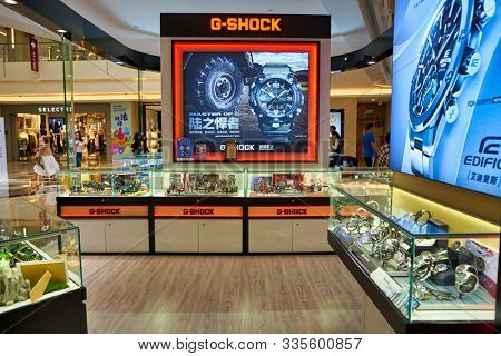 SHENZHEN, CHINA - CIRCA NOVEMBER, 2019: watches on display at a kiosk in Wongtee Plaza shopping mall.