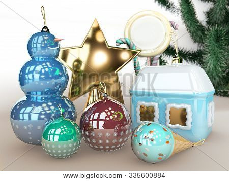 3d Illustration Of Merry Christmas Tree Toy House Snowman And Star Isolated On White Background