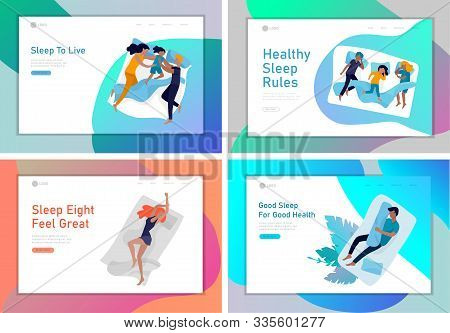 Landing Page Template Sleeping People Character. Family With Child Are Sleep In Bed Together And Alo