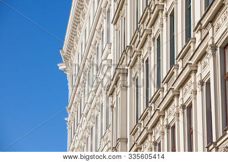 Typical Austro-hungarian Facade Of A Baroque Appartment Residential Building In A Street Of Innere S
