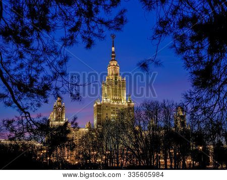 Moscow. Russia. November 13, 2019: Dark Blue Sky After Sunset Over The Building Of Lomonosov Moscow