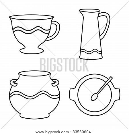 Isolated Object Of Ware And Tableware Logo. Collection Of Ware And Clayware Stock Vector Illustratio