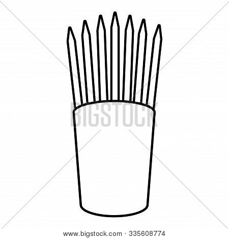 Pencils In Glass Stands Upright Office Supplier Concept Work Place Icon Outline Black Color Vector I