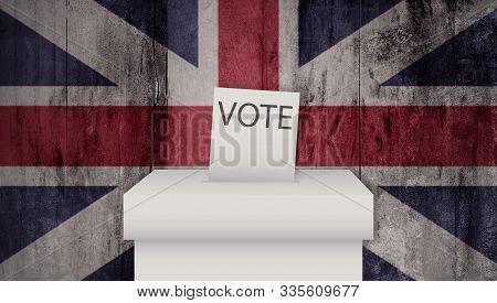 United Kingdom Election. General Election 12th December 2019. British Union Jack Flag. Vote.