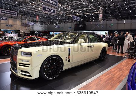 Geneva, Switzerland, March 06-2018: Mansory Rolls Royce Phantom Bushukan Edition At Gims