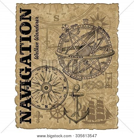 Navigation Maritime Vector Design. Nautical Design. Navy Illustration. Ocean Wallpaper. Sailboat, An