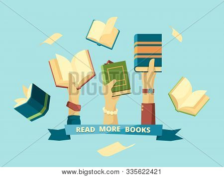 Hands With Books. Education Smart Concept Students Reading And Holding Books In Library Vector Backg