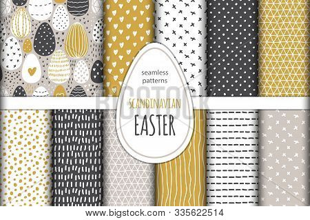 Cute Set Of Scandinavian Easter Eggs Collection Seamless Pattern Background With Hand Drawn Textures