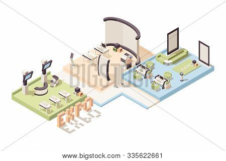 Exhibition Isometric. Advertizing Events Stands And People Vector 3d Low Poly Exhibition Complex Int