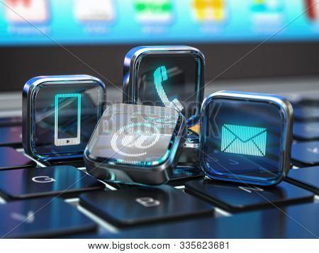 Contact us website page on computer keyboard. Internet concept  of contact methods. Signs of phone, mobile, letter and e-mail. 3d illustration