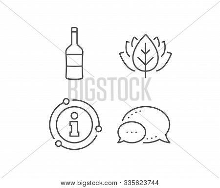 Wine Bottle Line Icon. Chat Bubble, Info Sign Elements. Merlot Or Cabernet Sauvignon Sign. Linear Wi